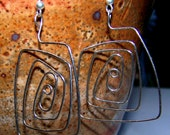 """Sterling Copper """"The Rabbit Hole"""" Square Spiral Silver Hooked Dangle Earrings"""