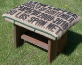 Recycled White Cedar Barn Wood and Jute Printed Coffee Sack Foot Stool