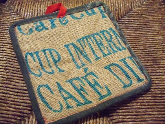 100% Recycled Coffee Sack Pot Holders