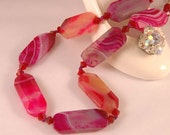 Handcrafted unique faceted Botswana Agates with colors of fuchsia, red magma, indian pink, ruby and Swarovski crystals