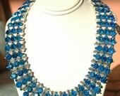Trifari sapphire blue rhinstone choker