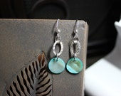 Turquoise Shell with Hammered Silver Oval Earrings