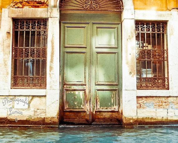 "SALE - Venice, The Green Door - 8"" x 10"" Print - Europe Travel Photography - Fine Art Photography"