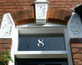 2 x White Transom or Fanlight House Numbers