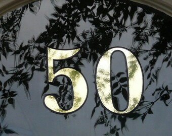 3 x Gold Transom or Fanlight House Numbers