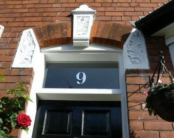 2 x Silver Transom or Fanlight House Numbers (2 numbers)