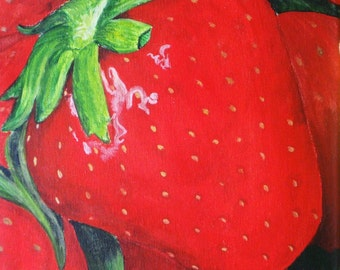 Delicious Red Strawberries 11 X 14 Original Painting in Lobster Trap Frame - Last day at this SALE price