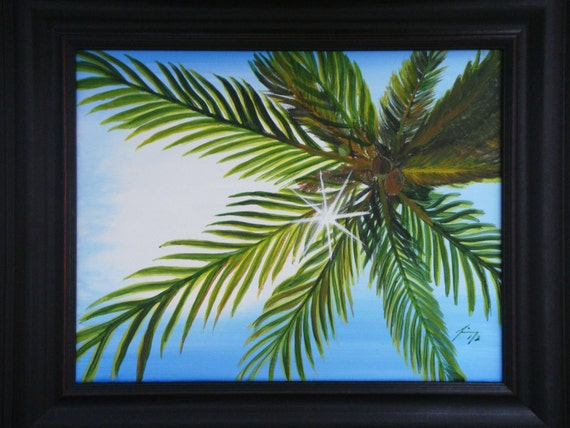 Sunlight through the Palms Behind Hemingway's in Turks and Caicos Original Painting - SALE price