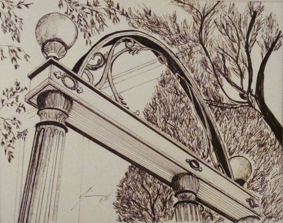 University Of Georgia Arch Pen Amp Ink Drawing Framed Print