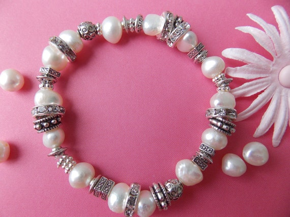 fresh water pearl and vintage silver