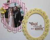 Pink Striped and Yellow Oval Die Cut Paper Frame Embellishment Set
