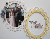Multicolored Pastel Dotted and Yellow Oval Paper Frame Embellishment Set