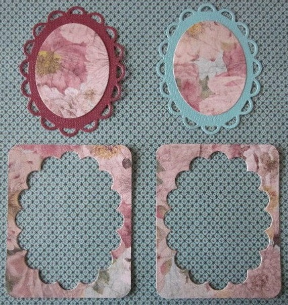 10 Piece Teal, Burgandy, and Floral Frames, Flowers, and more Embellishment Assortment in 2 Photos