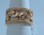 Reserved Listing/Made to Order/ Dog Paw Band in 14kt yellow gold with Diamonds and Pink Sapphires