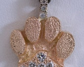 14kt Dog paw pendent with pave Diamonds.....a fun pendent for that Special Dog Lover...GOLD..DIAMONDS