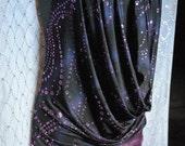 SoSexy Glittery Purple & Black Cowl Neck Mini Dress