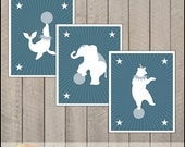 CIRCUS collection - BLUE  - Bear, elephant and seal - nursery for your little boy -  set of 3 prints - 8 x 10