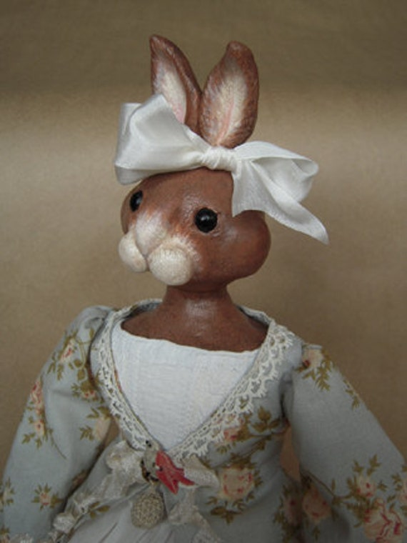 SALE - OOAK Folk Art Bunny Rabbit Doll - Miss Amelia Ruffleflounce