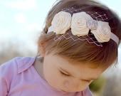 Ivory Satin Rose Headband
