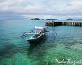 Beach Art Diving Boat Indonesia Togian Islands, Emerald, Turquoise, Sea, Wall Art, 8x10