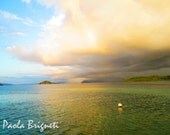 Nature Beach Photography Storm Approaching the Togian Islands, Indonesia, 8x10, Wall Art, Emerald, Mint, White