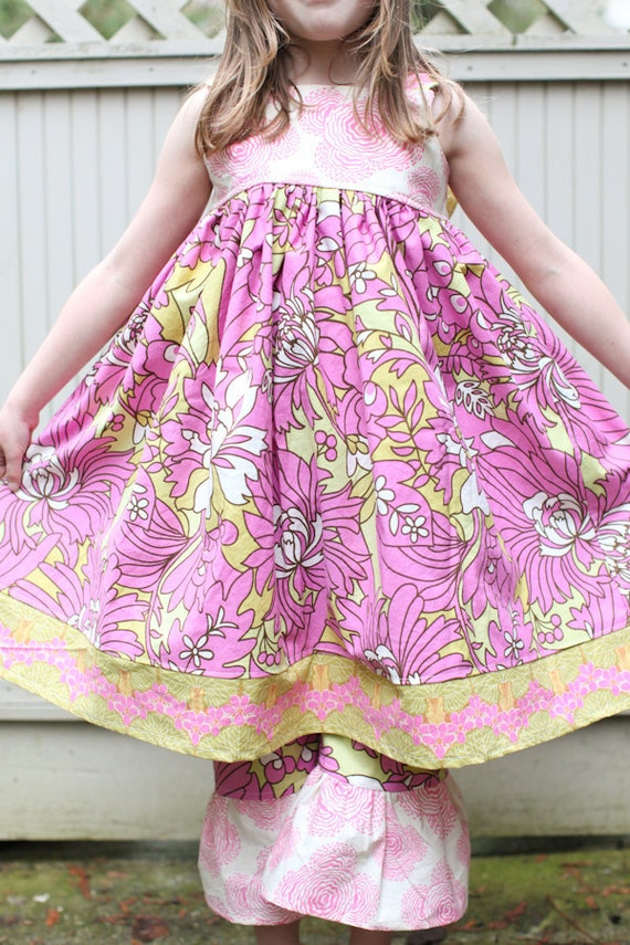 Sale 30% off, Girls Size 6-8 DAISY CHAIN Pink and Green Swirl Dress with Bow and Pantaloons, Ready to Ship