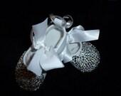 Baby Girl Ballet Flat w/ Rhinestone Embellishments (White)