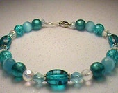 Turquoise, White & Silver Glass Bead Bracelet