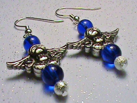 GUARDIAN ANGEL Blue & Silver Glass Bead Earrings
