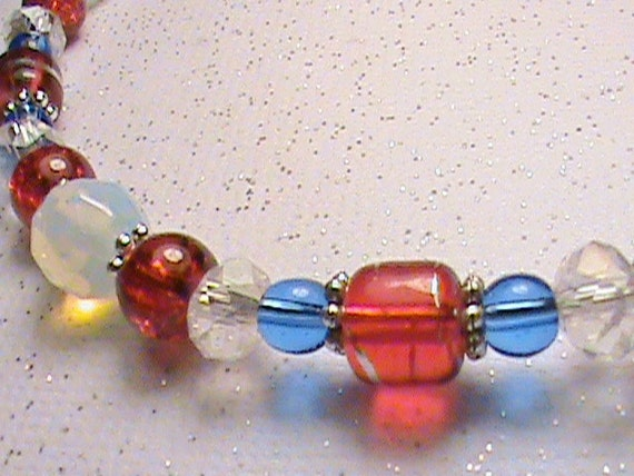 PAY IT FORWARD - Red, White, Blue & Silver Glass Bead Bracelet