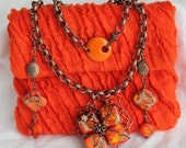 Tangerine Tango Jasper Necklace and Earring Jewelry Set designed for Rachael Ray