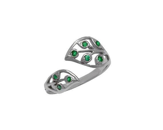 Emerald Ring- Gemstone Ring- Silver Leaf Ring- Adjustable Ring- May Birthstone Ring