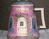 "Hand Painted large PINK cottage vintage coffee pot ""Dew Drop Inn"""