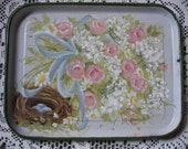 Shabby chic vintage enamelware tray with pink roses, babies breath, bird nest & eggs
