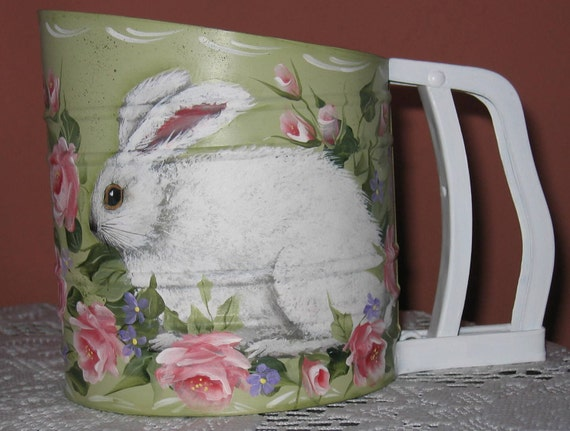 Hand painted one of a kind vintage flour sifter with bunny rabbit  and roses design