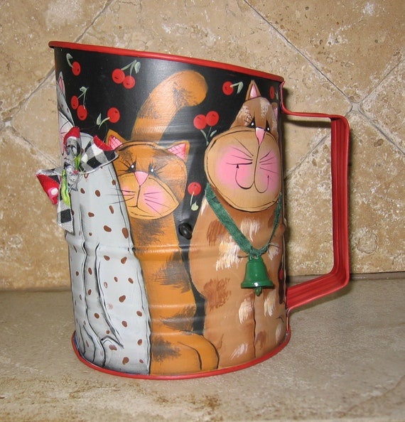 Vintage flour sifter hand painted with 5 whimsical folk art cats