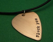 Custom Hand Stamped Brass Guitar Pick Necklace