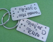 Game of Thrones Inspired - My Sun and Stars and Moon Of My Life -  A set of 2 Hand Stamped Keychains in Aluminum or Copper