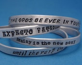 Personalized Custom 1/4 Hand Stamped Aluminum Bracelet with stamping on TWO SIDES