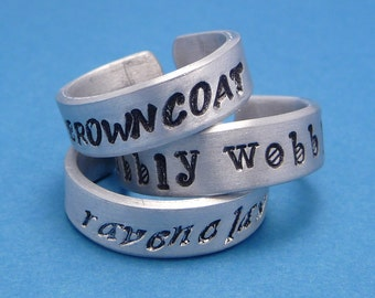 Personalized CUSTOM Hand Stamped 1/4 inch Aluminum Ring - Stamping on ONE SIDE Only