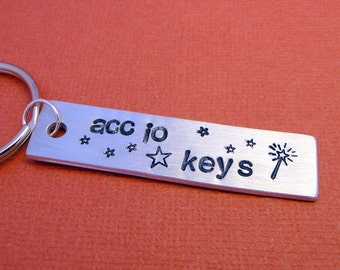 Wizard inspired - A Hand Stamped Keychain in Aluminum or Copper