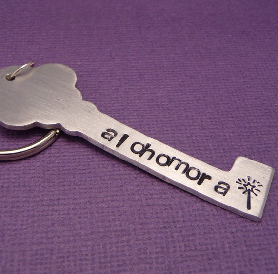 Alohomora - A Hand Stamped Aluminum Keychain