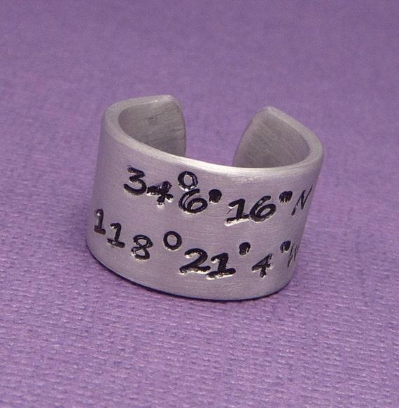 Personalized Latitude & Longitude Custom Hand Stamped Aluminum Ring