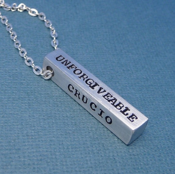 CLEARANCE - Harry Potter Inspired - Unforgiveable Curses - A Hand Stamped Aluminum Bar Necklace - READY to SHIP