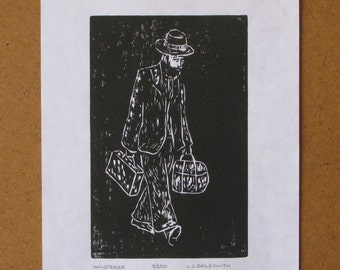 Wanderer Original Woodcut Print Limited Edition 9/250 Woodblock