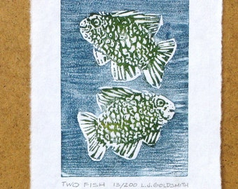 Two Fish Original Woodcut Print Limited Edition 13/200 Woodblock on Mulberry Paper