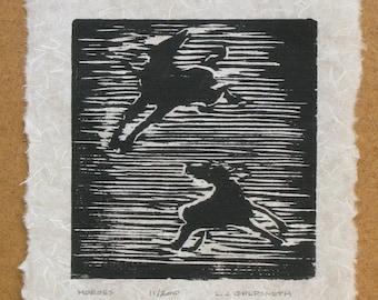 Horses Original Woodcut Print Limited Edition 11/200 Woodblock on Kinwashi Paper