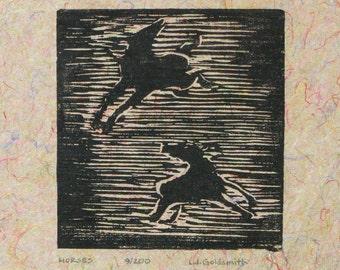 Horses Original Woodcut Print Limited Edition 9/200 Woodblock on Handmade Paper