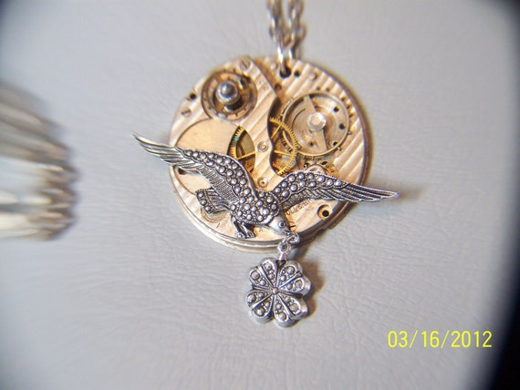Steampunk necklace Guilloche Vintage pocket watch component w/marquisette charm and silver chain with marquisette details