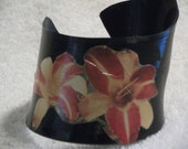 Day Lily Upcycled Vinyl Record Wrap Around Style Cuff Bracelet
